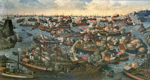 The Pope's fleet took shape and was 300-ship strong with 50,000 serving the fleet as rowers and 30,000 fighters. Still, they were greatly outnumbered by the Turkish fleet. Doom hung over Italy. Pope Pius V called upon all Christendom to pray the <a href=