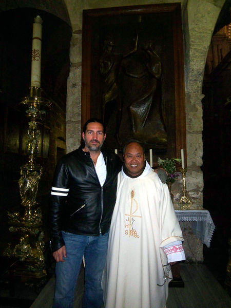 Father Angelo with Jim Caviezel.