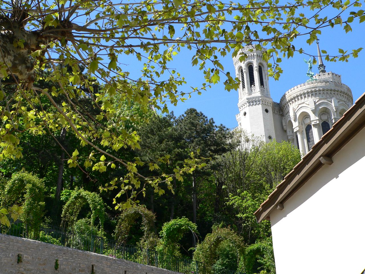 View of Basilica of Fourvière above and behind Pauline's Home in Lyon, France.