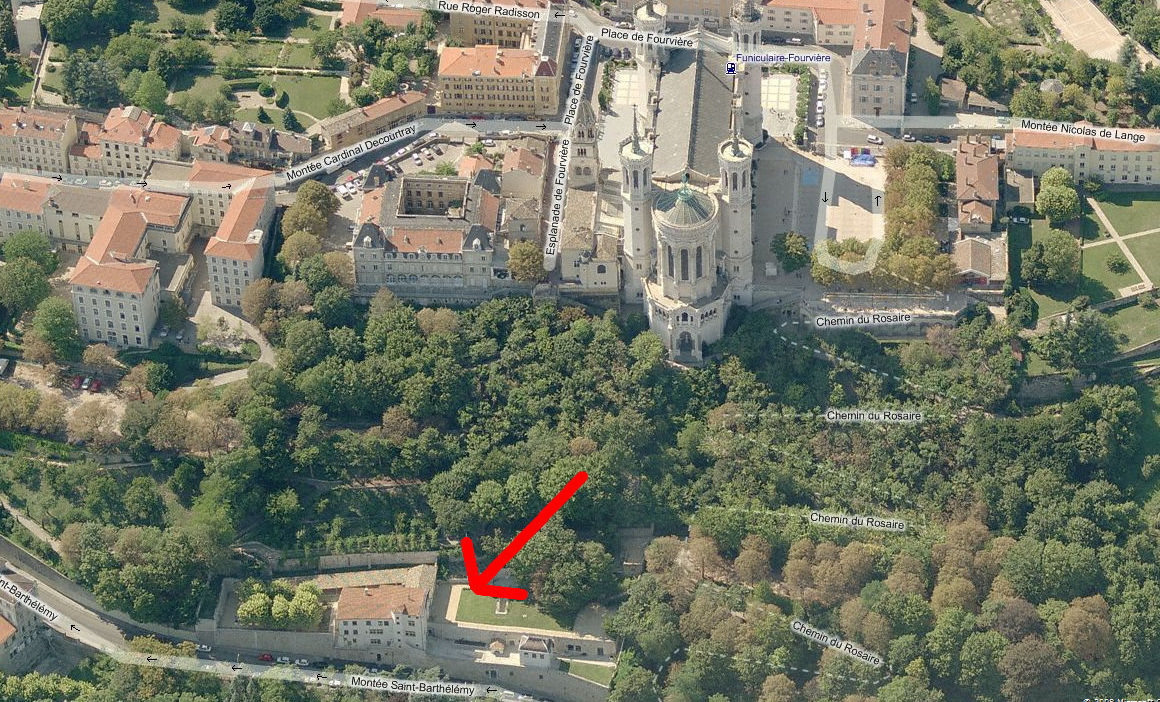 Aerial View Showing Pauline's Home in Relation to the Basilica of Fourvière Behind and Above it.