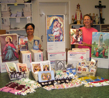 This is the box we send out to the foreign Missions @ $53.95. It contains Rosaries, Scapulars, Miraculous Medals, Cord & Oil, Newsletters, Calendars, Catechism books, 2 TAN books, large color prints, lists and encouragements for our Promoters.