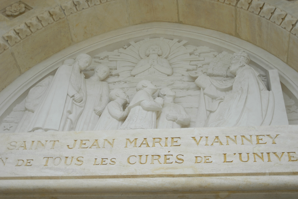 Over the front entrance of the Shrine of Ars, France.