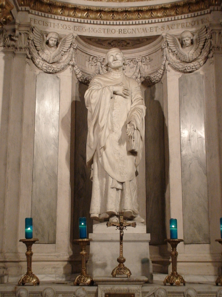 Statue of Saint John Vianney in the Shrine of Ars, France.
