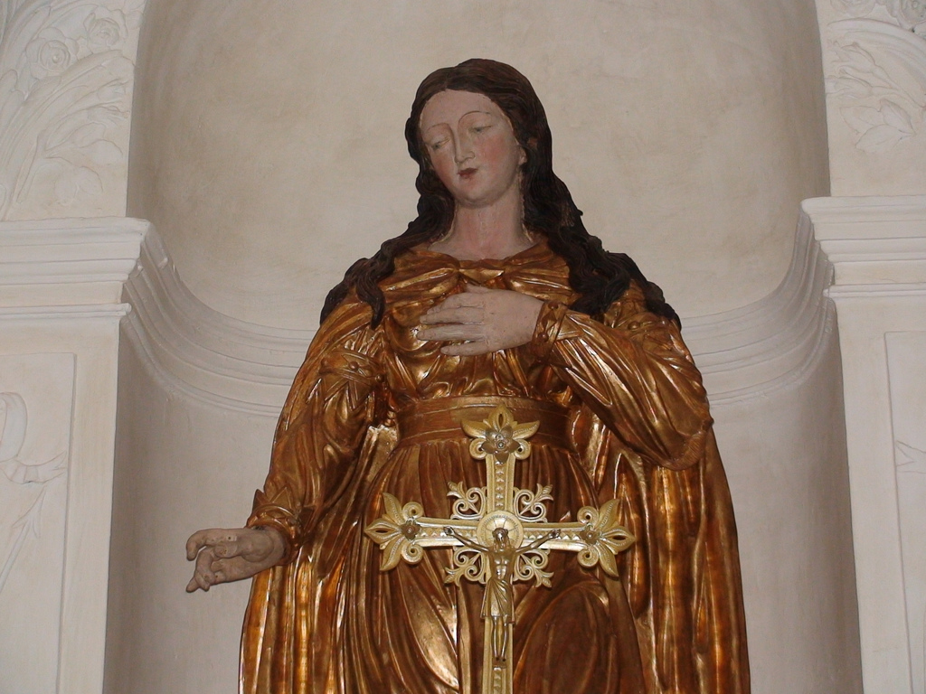 Statue of Saint Philomena in the Shrine of Ars, France.