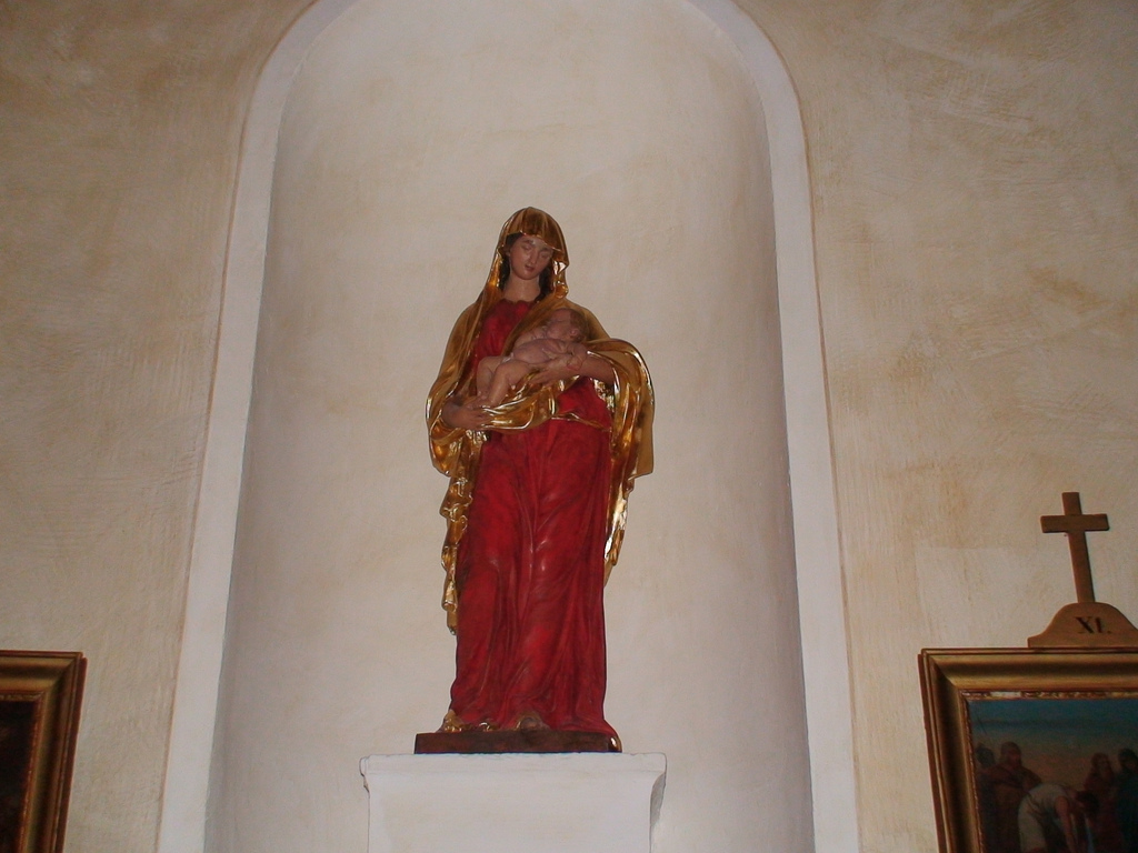 Statue of OUr Lady and Infant Lord in the Shrine of Ars, France.