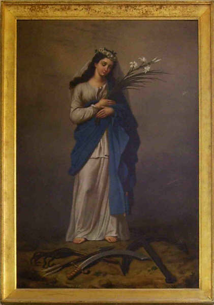 Painting of Saint Philomena commissioned by Saint John Vianney and is housed in the Shrine of Ars, France.  Vianney reported that this is the exact likeness of Saint Philomena, who said that she appeared to him.