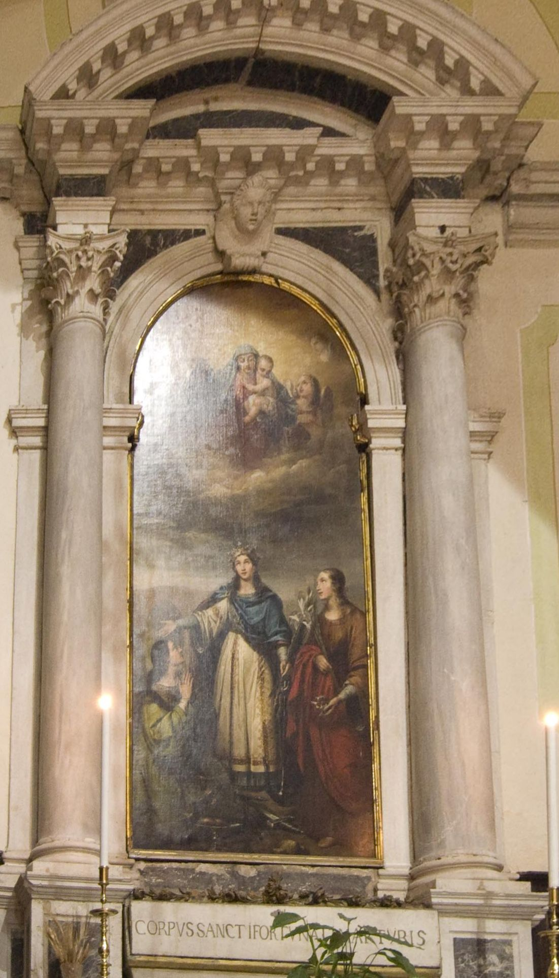 Saints Filomena, Lucy and Agatha by Cosroe Dusi, San Martino, Venice, Italy