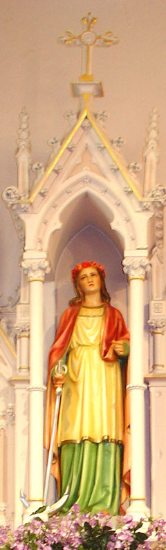 A lovely statue and shrine of Saint Philomene at the Saint Philomene Catholic Church, Labadieville, Louisiana, United States.