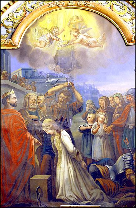 A painting of the Martyrdom of the Saint, which is at the church of Notre Dame in Plourin-les-Morlaix, at Bretagne, France.