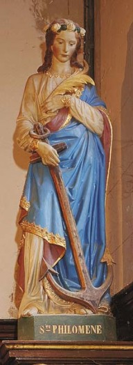 Sainte Philomène Statue in the Saint-Etienne Church in Mernel France.