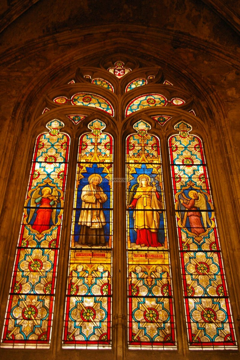 Stained Glass Window of St. John Vianney and St. Philomena, Saint Nizier, Lyon, France