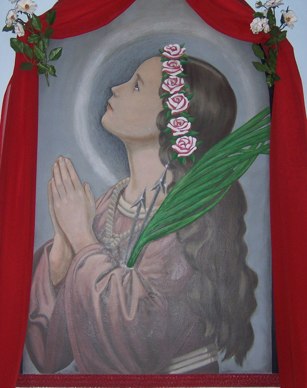 Our Lady of the Rosary Chapel, Monroe, Connecticut, United States.  Saint Philomena Painting Inside Chapel.