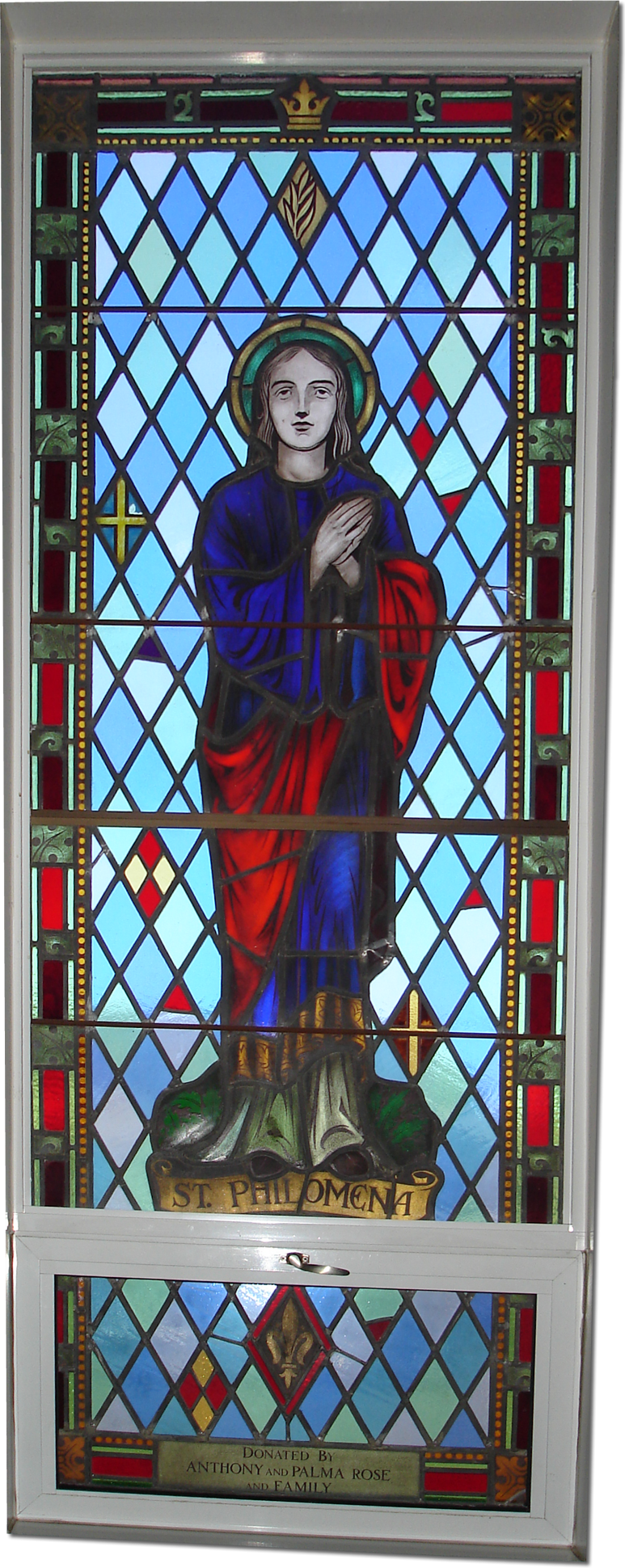 A stained glass window in St. Anne's' Church, Niagara Falls, Ontario, Canada.
