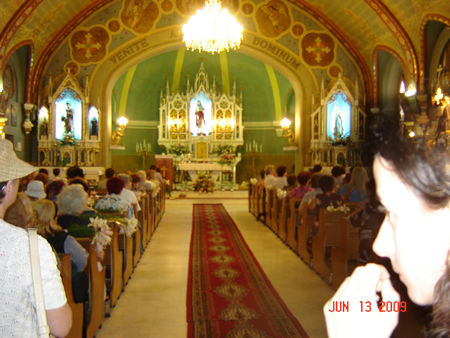In St. Anthony's celebration Day people was coming with white flowers of purity.