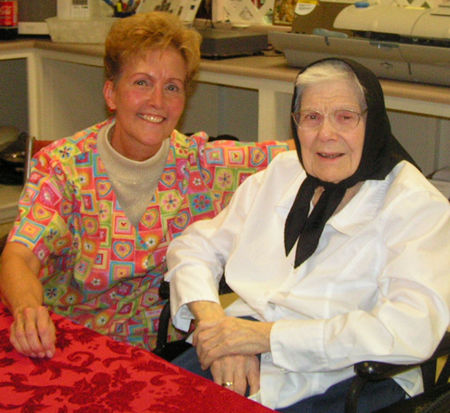 Sister Emerentia pictured here with Patti Melvin.