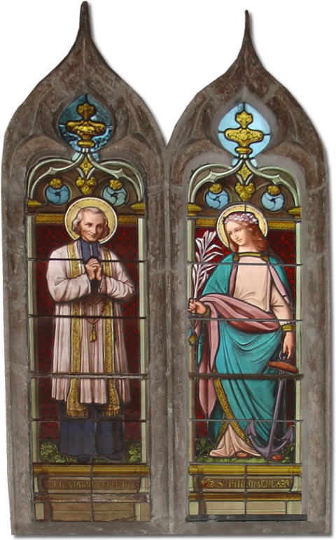 Saint John Vianney and Saint Philomena stained Glass Window from a church in Châtillon, Belgium.