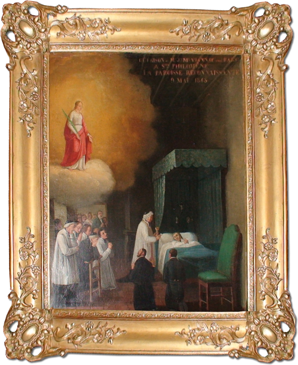 The Painting that depicts Saint Philomena appearing to Saint John Vianney.  The painting is housed in the Shrine of Ars, France.