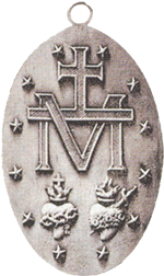 "On the back of the Medal, we see a large letter ""M"" with a Cross above it. ""M"" is for Mary and Mother because She is indeed the Mother of God's people, a people founded on the twelve Apostles, signified by the 12 stars arranged around the side. God's people have learned to turn to their Mother, knowing She will listen with a mother's sympathy and affection."