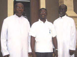 Fr. Prof. John Appiah Poku, on my left, is a Senior Lecturer, School of Medical Science, University of Science & Technology, Kumasi and on my right is Fr. Dr. Augustine Ntim Duodu, Vice Rector of St. Joseph's Catholic Seminary, Mampong. They are very well recognized as the Spiritual Directors of the ULRA in Ghana, after Archbishop Emeritus Dr. Peter Sarpong and are very active and much supportive to the work of the Universal Living Rosary Association of Saint Philomena (ULRA). They try always to travel from their various destinations to celebrate the Mass of St. Philomena with us on every feast day of the Saint at our St. Peter's Cathedral Basilica. This they have done for over the past 20 years now. They say, they deserve NO recommendation from anyone as they do all because St. Philomena is their own beloved Sister who intercedes for and refuses them NOTHING they ask through her intercession. Patti, you can see both our good Priest members at the Altar offering the Mass of St. Philomena during her last feast on May 25, 2011.