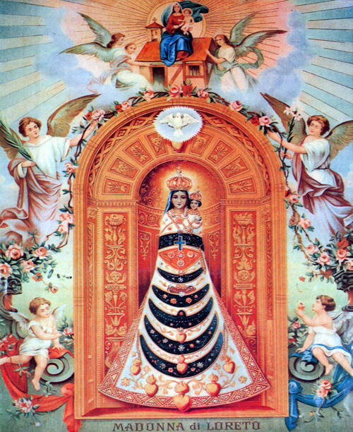 This is the House of God and the Gate of Heaven. The Mother and Child are wrapped snugly, seemingly one, to signify their union in the Holy Spirit. Only the two Heads and the Hands of the Child Jesus are visible. His right Hand is raised in blessing, while the left Hand holds the orb of universal kingship.