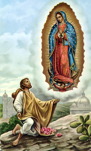 "In 1500, Cortez and Mary brought Mexico to God. When Cortez landed in Mexico, he was amazed to find a highly civilized nation of 9 million Indians but equally shocked at their barbaric religion. They worshipped the stone god and sun god, both of whom demanded human sacrifice. In a week's time, 80,000 Indians were sacrificed by having their hearts torn out of their bodies while they were still beating. After a series of battles, Montezuma was conquered and the pyramids were torn down. However, the people stubbornly resisted Christianity. Juan Diego was one of the first baptized Christians. In 1531, humble and devout, he was on his way to Saturday Mass when he heard heavenly music and was called by name, ""Juanito, the smallest of my children, where are you going."" Juan Diego explained to the lovely lady of superhuman beauty that he was on his way to Mass. Then, the lady continued:"