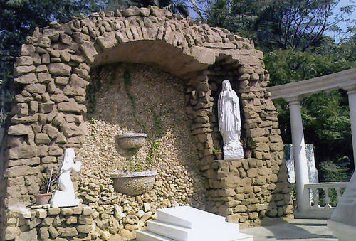 Different views of the Church and Grottos at Saint Patrick Church and School.