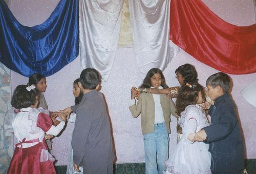 Children presenting a tableau.