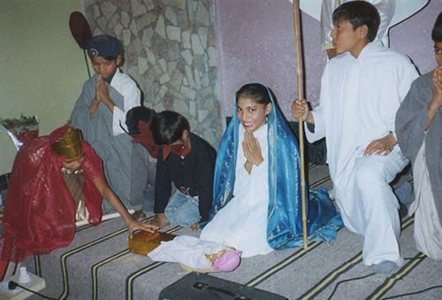 Children presenting a tableau.