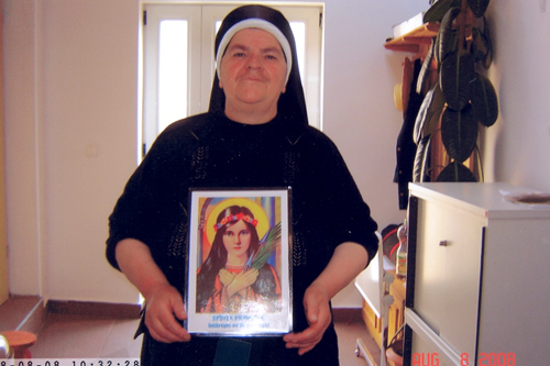 Sister Irina is happy to spread the Saint Philomena devotion at the monastery.