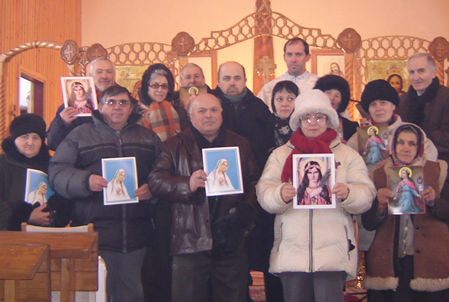 """Fr. Ioan Albu from the Monastery """"Sfanta Cruce"""" also spreading St. Philomena's devotion. He is very sick (Has flu) because there is no one source of hit to make a little warm. And the frost is round -20 degrees Celsius."""