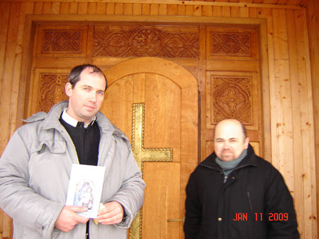 """Fr. Ioan together with Br. Damian (monk) in front of the Monastery """"Sfanta Cruce"""". They send you message of thanks and fraternity together with their prayers for all you are doing for them and our Church"""