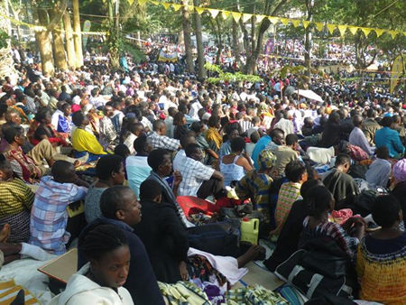This a cross section of the pilgrims that have today attended the feast of the Uganda Martyrs!