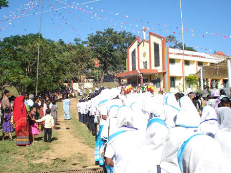 The Parish Church; Marian Sodality Members making a Procession in their Sodality Attires